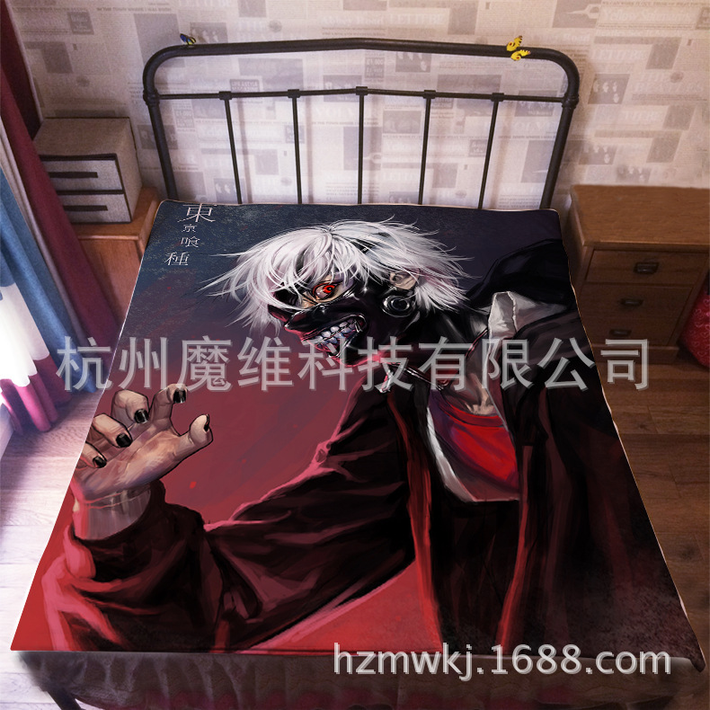 120*200cm Japan Anime Tokyo Ghoul Ken Kaneki Flannel Blanket on Bed Mantas Bath Plush Towel Air Condition Sleep Cover bedding