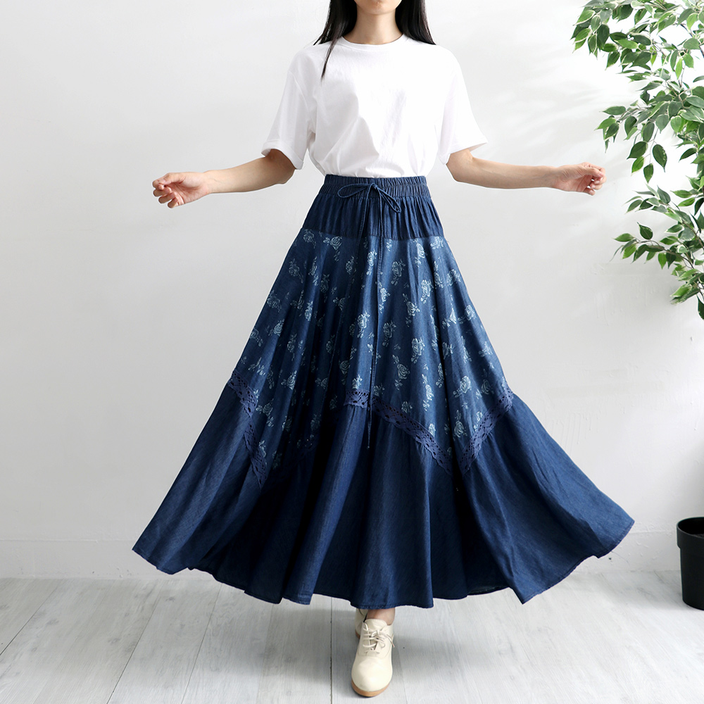 Free Shipping 2019 Lace Long Maxi A-line Skirts Women Elastic Waist Spring And Summer Denim Jeans Flower Print Vintage Skirts