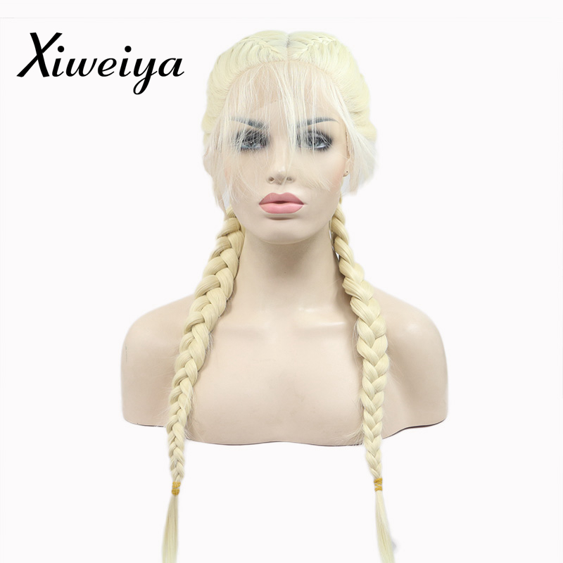 Xiweiya blonde 613# Double Braids Synthetic Braided Lace Front Wig with Baby Hair Wig Heat Resistant Fiber Middle Part