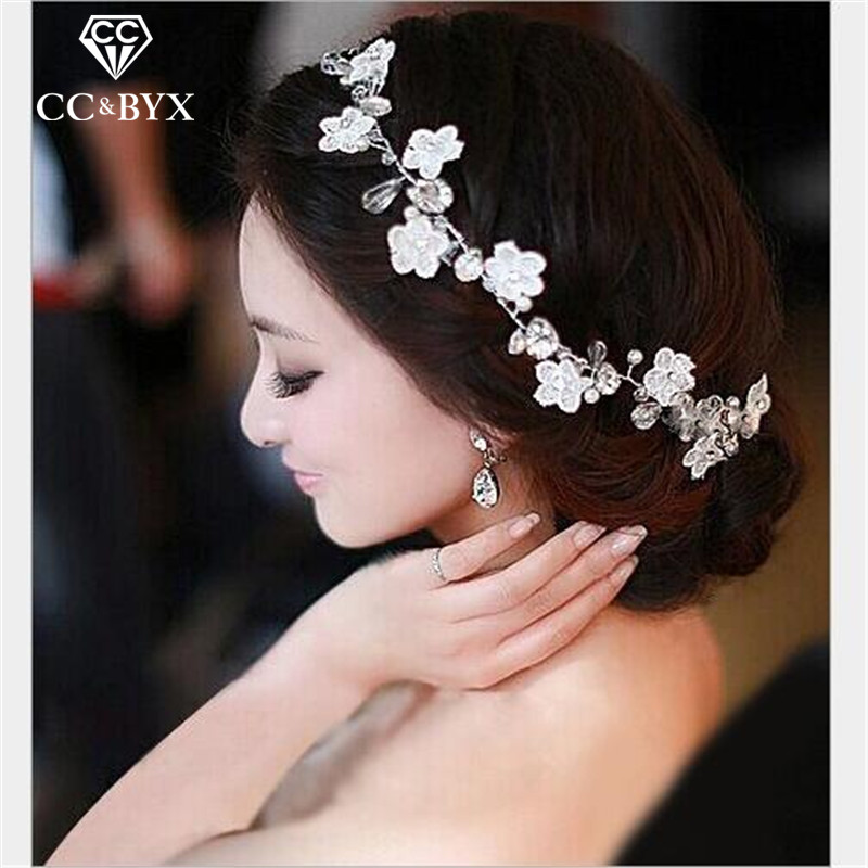 CC Hair Ornaments Flower Crowns Tiaras Bride Hairband Wedding Hair Accessories For Women Crystal Handmade Jewelry Romantic TS008