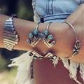 4 Styles Bohemian Natural Turquoise Bracelet Tibetan Tribal Silver Alloy Fashion Slave Bracelets Cuff Bangles For Women Jewelry