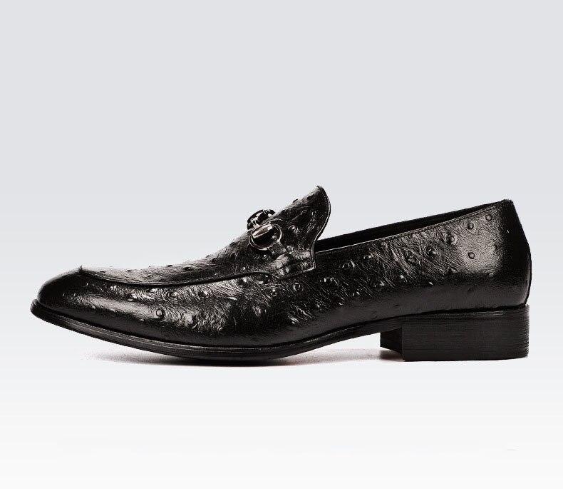 Preto Qualidade Qyfcioufu Luxo Formal Alta Italiano Sapato Sapatos Couro Sobre Avestruz Genuíno marrom Mens Deslizar De Padrão Vaca Oxfords ATrxwHAqWv