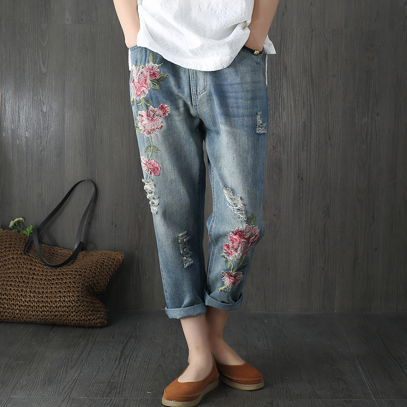 Flower Embroidery Jeans Women Blue High Waist Casual Loose Harem Denim Pants 2017 Fashion Vintage Summer Ripped Hole Jeans F256 pockets casual ankle length embroidery summer hole denim harem pants fashion floral jeans ripped jeans for women tt2395