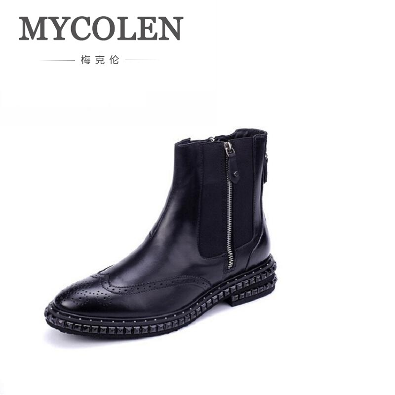 MYCOLEN Brand Fashion Winter Men Shoes Zipper Comfortable Leather Rivet Men Boots Black Casual Men Ankle Boots Bottes Homme ion audio compact lp black проигрыватель виниловых дисков
