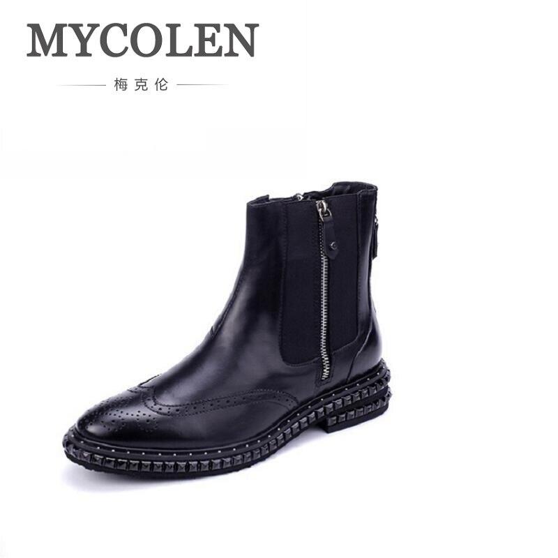 MYCOLEN Brand Fashion Winter Men Shoes Zipper Comfortable Leather Rivet Men Boots Black Casual Men Ankle Boots Bottes Homme