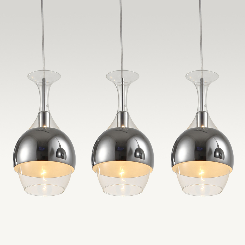 Modern Glass Cup Bar Counter Pendant Lights Dining Room restaurant Polished Chrome Pendant lamp