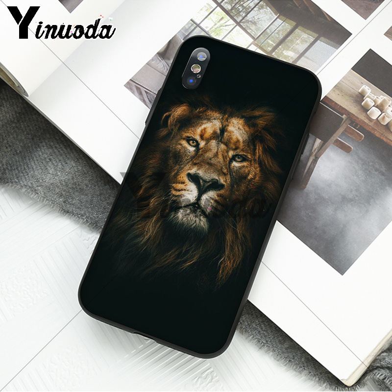 Yinuoda Animal king tiger and lion Pattern TPU Soft Phone Cell Phone Case for iPhone X XS MAX 6 6S 7 7plus 8 8Plus 5 5S XR