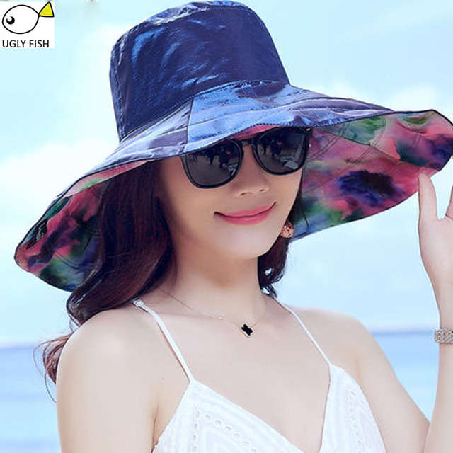 7a526567e3dcb Online Shop floppy sun hat beach summer hats for women solid color floral  print uv protection wide brim