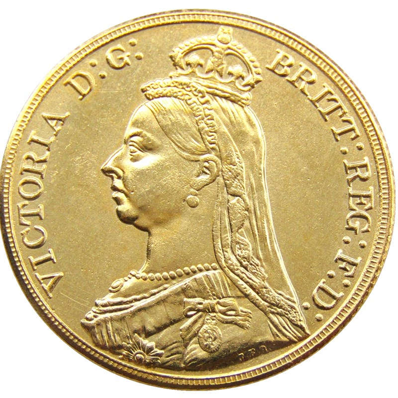 1887 Queen Victoria Gold Doble Soberano Dos Libras Moneda