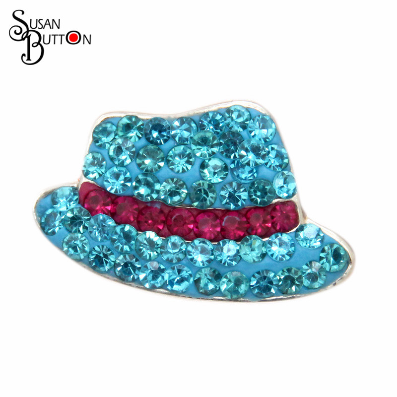 2016 Newest 12pcs/lots Rhinestone Crystal Blue Hat Shape Interchangeable Snap Jewelry Snap Susan Button Charms SB3954
