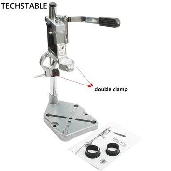De aluminio de taladro de banco soporte doble-cabeza taladro eléctrico Base Portabrocas de Grinder accesorios para carpintería