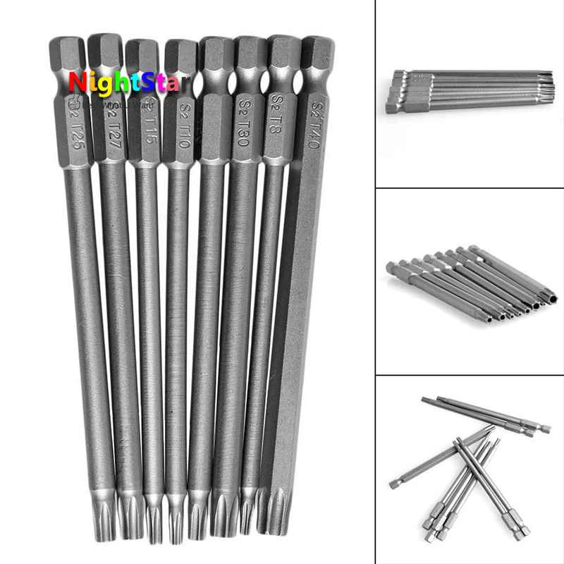 8Pcs 100mm Magnetic Torx Screwdriver Bits 1/4 Hex Shank New T8 T10 T15 T20 T25 T27 T30 T40 Electric Screwdriver head 8pcs t9 t40 150mm lenght magnetic torx screwdriver bits 1 4 hex shank s2 steel electric screwdrier tool