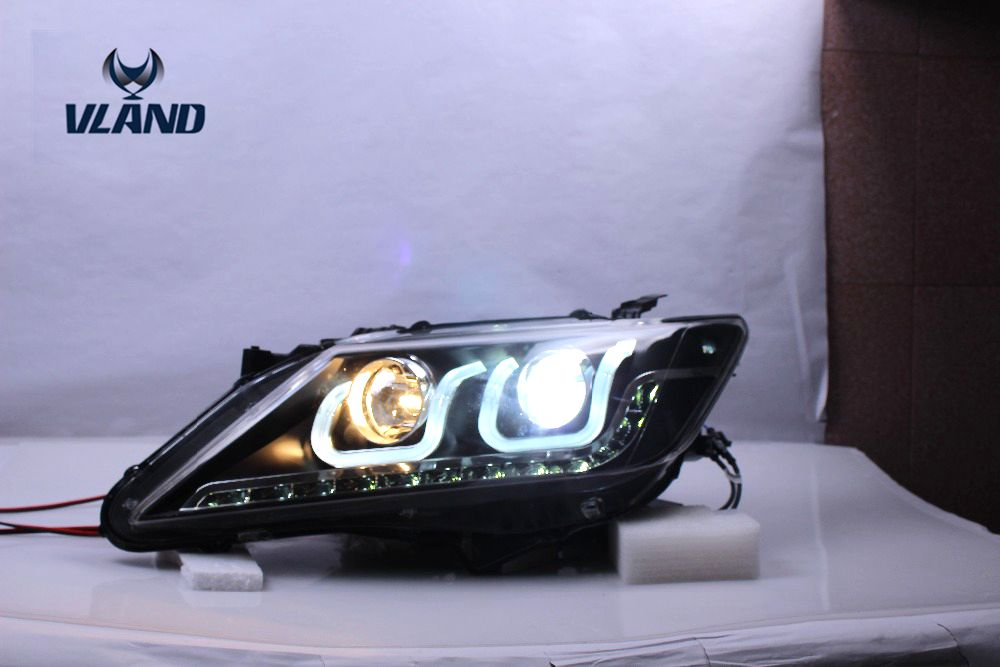 Free shipping vland Factory for Camry headlight 2012 2013 2014   LED  headlamp double U angel eyes  HID xenon lamp