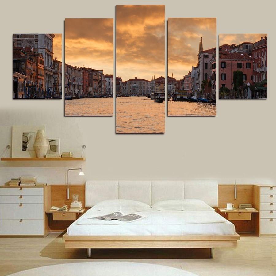 5 Panel Gold Coast Gambar Lukisan Dinding Eropa Venice Beach Senja