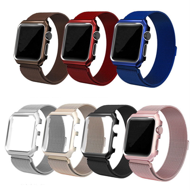 Milanese Loop Strap for Apple Watch Band 42mm/38mm Magnetic Metal Stainless Steel Bracelet Bands for iWatch 1 2 3 with Frame аксессуар набор петелек bling my thing allure loops apple watch 38 42mm pink aw loop pk cry