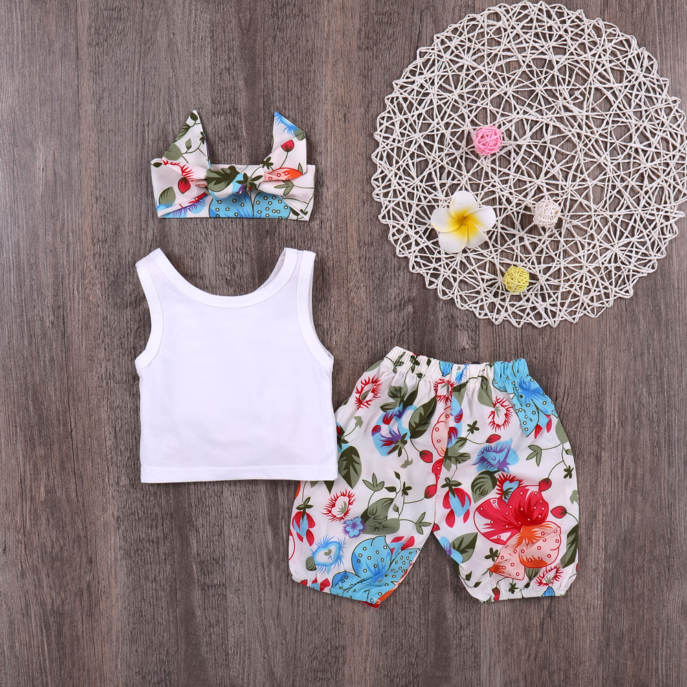 18 Month Baby Boy Clothes White Tank Tops + Floral Pants + Headbands Toddler Girls 3Piece Set Summer Sleeveless Children Costume