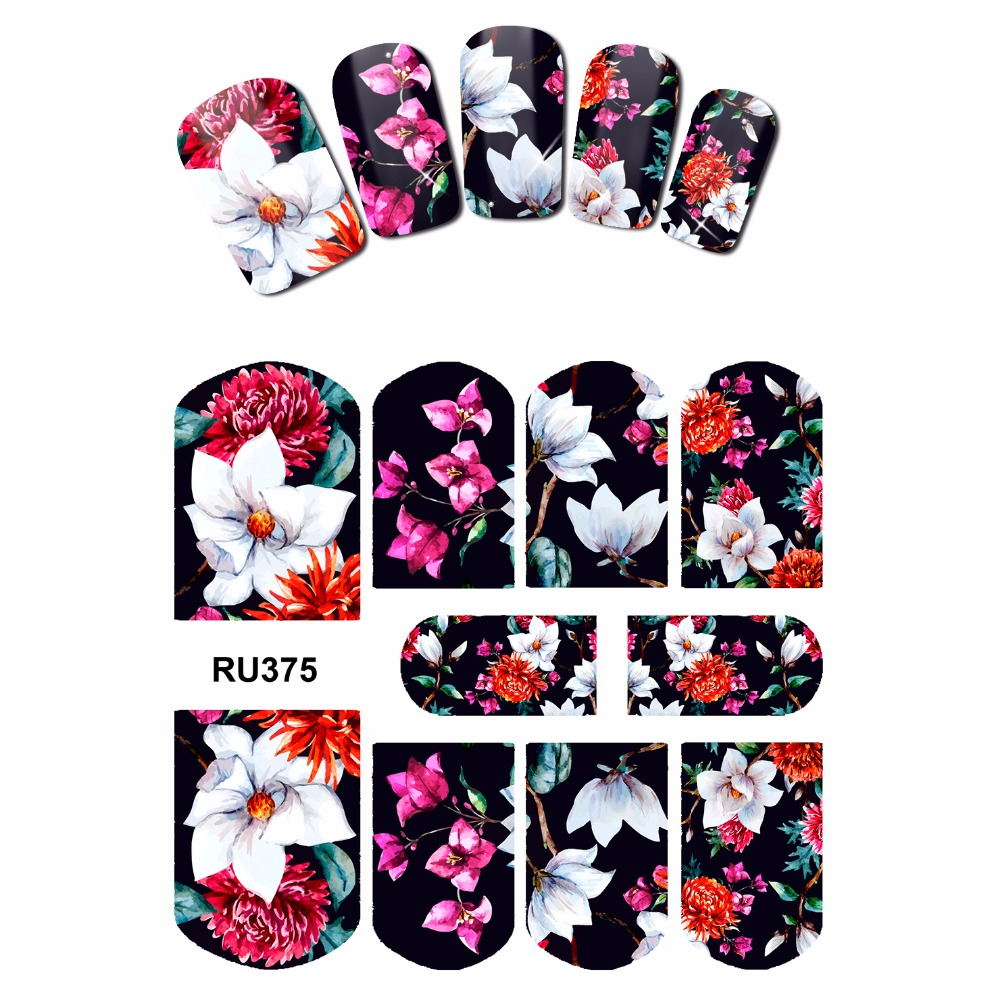 NAIL ART NAIL BEAUTY WATER STICKER DECAL SLIDER FULL COVER  TROPICAL FLOWER VINE WINTER BLOSSOM BAMBOO LEAF LILY RU373-378 миска lily flower g2286 h4266