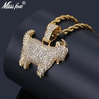 MISSFOX Hip Hop Personalized Goat Gold Pendant Necklace Long AAA Cubic Zirconia Iced Out Animal Valentine's Men Gift Jewlery