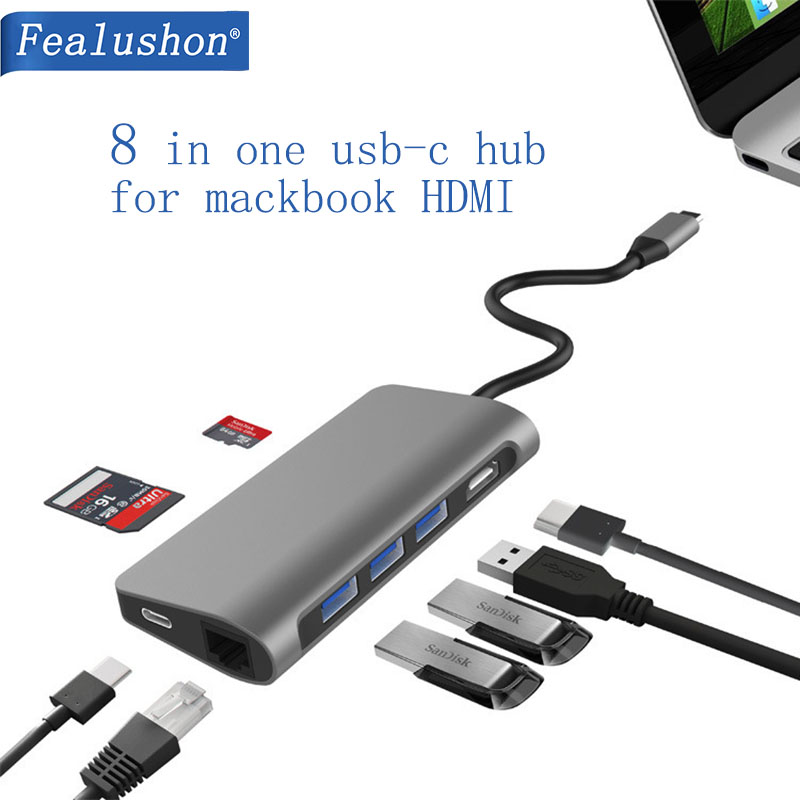 USB C Del Computer Portatile Docking Station USB 3.0 HDMI RJ45 Gigabit PD Fealushon per MacBook Samsung Galaxy S9/S8/ s8 + Tipo C Dock station-in Docking station per laptop da Computer e ufficio su AliExpress - 11.11_Doppio 11Giorno dei single 1