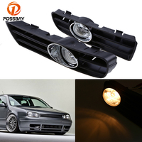 POSSBAY Car Front Lower Bumper Fog Light LED Daytime Running Lights for VW Golf/Variant/4 Motion 1998 2006 Halogen Foglamps