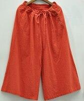Wide Leg Pants Women Drawstring Cotton Linen Pants Trousers Button Decoration Ankle Length Wide Leg Boho