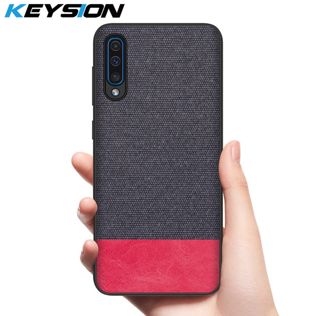 KEYSION Phone Case for Samsung Galaxy A50 A30 A70 Luxury Colors Splice PU Leather Cloth TPU Black Cover for Samsung S10 Plus