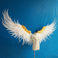 Adult big size black and gold Feather angel Wings Photo Prop Stage Show angel wing Halloween Costume Wedding Party Supplies