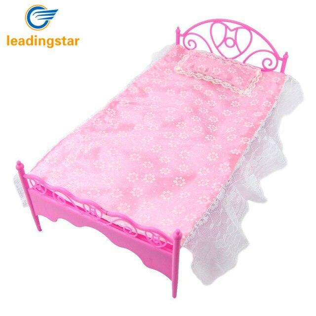 LeadingStar Rosa Mini Bett Mit Kissen für Barbie Puppen Puppenhaus ...