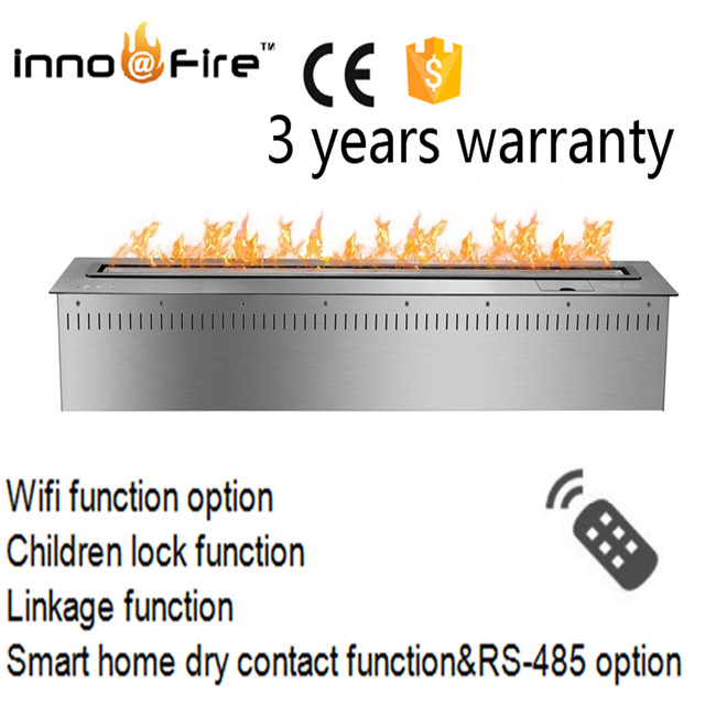 Hot Sale 48 Inch 304stainless Steel Intelligent Silver Or Black Remote Control Ethanol Chimenea Insertable
