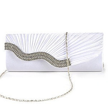 Wholesale10pcs*Ladies Evening Clutch Fabric baguette Type Satin Handbag Pleated with Serti Waterfront Strass White
