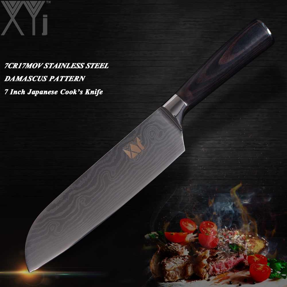 XYj Hot Sale Stainless Steel Kitchen Knife High Carbon Blade Pakka Wood Handle Kitchen Knives Stainless Steel Cooking Tools