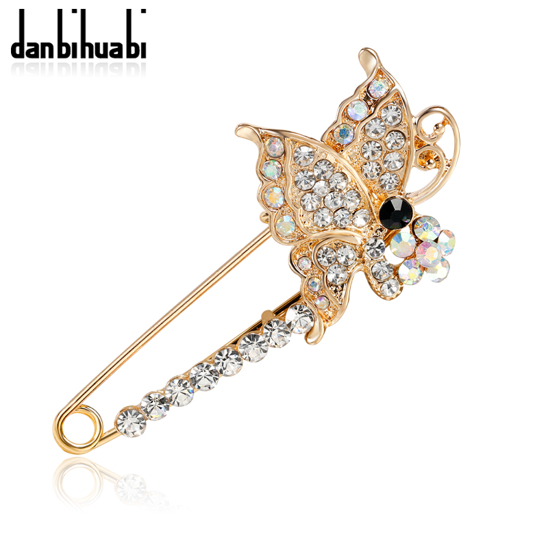 danbihuabi Large Butterfly Rhinestone Brooch Vintage Brooch Fashion Hijab Pins and Brooches Clothes for Women Pin Badge Gift