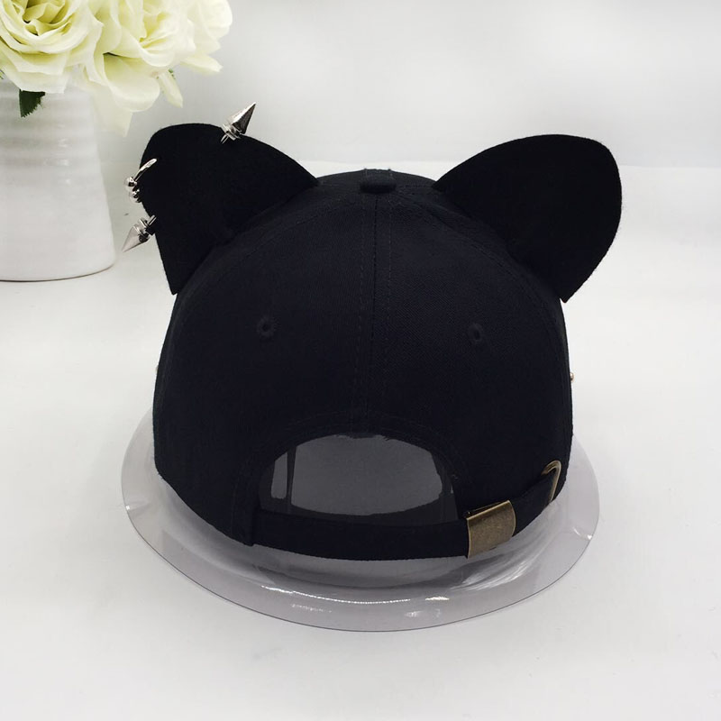 metal baseball cap female cotton equestrian cap ears 6