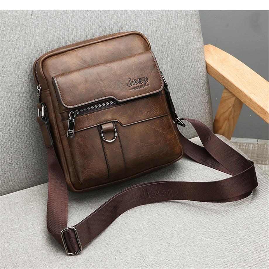 JEEP BULUO Luxury Brand Men Messenger Bags Crossbody Business Casual Handbag Male Spliter Leather Shoulder Bag Large Capacity 10