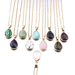 24*15mm Natural Stone Waterdrop Necklace Opal Kallaite Purple Crystal Tiger Eye Stone Necklace For Women Jewelry