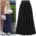 Spring Summer black long skirt summer Casual women skirt 2017 Autumn high waist skirt Elastic Gray Blue pleated skirt