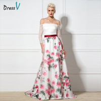 Dressv Printing Evening Dress A Line Off The Shoulder Court Train Long Sleeves Wedding Party Formal