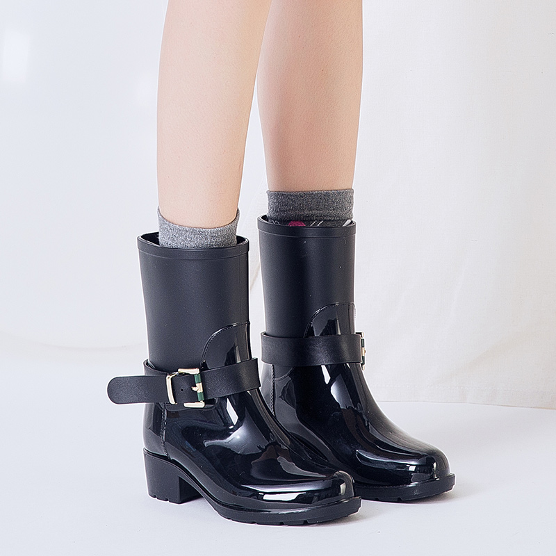 Rain Boots 2018 Waterproof Fashion Jelly Women Ankle Rubber Boot Elastic Band Solid Color Rainday Women Shoes Cute pink girl hellozebra women rain boots waterproof fashion rubber elastic band solid color raining day shoes low heel 2017 autumn new href
