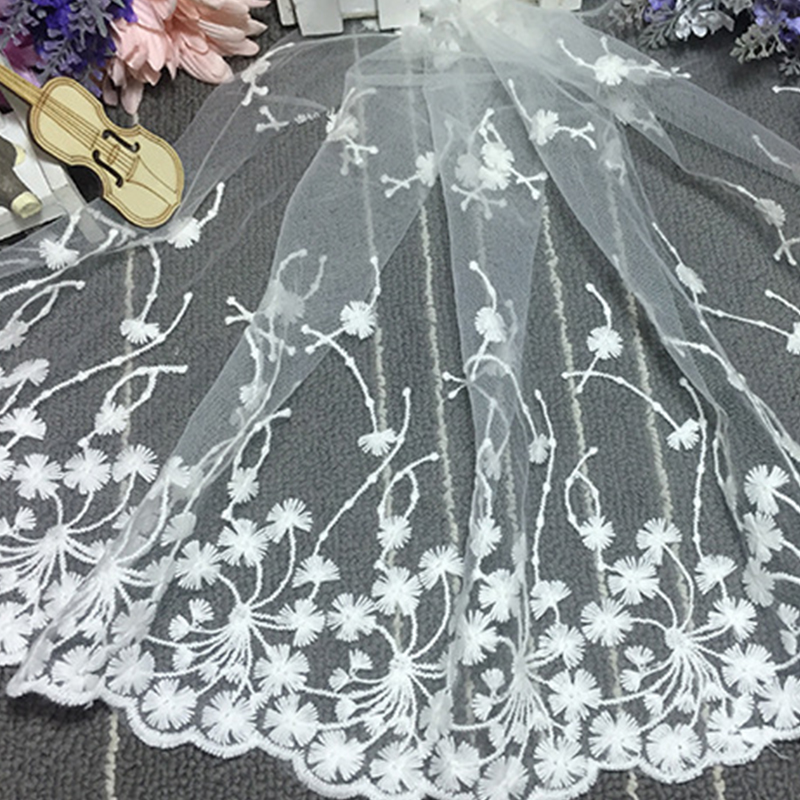 90*35cm Cloth White Flower Embroidered Tulle Mesh Lace Trim for Sewing Accessories Embroidered Trim Beautiful Lace Fabric DIY(China)