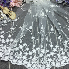 90*35cm Cloth White Flower Embroidered Tulle Mesh Lace Trim for Sewing Accessories Embroidered Trim Beautiful Lace Fabric DIY collared mesh trim embroidered plus size top