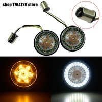 Motorbike Bullet Turn Signal Indicator Light Lamp 1157 LED Inserts Light For Harley Softail 11 17 Dyna 12 17 Sportster Touring