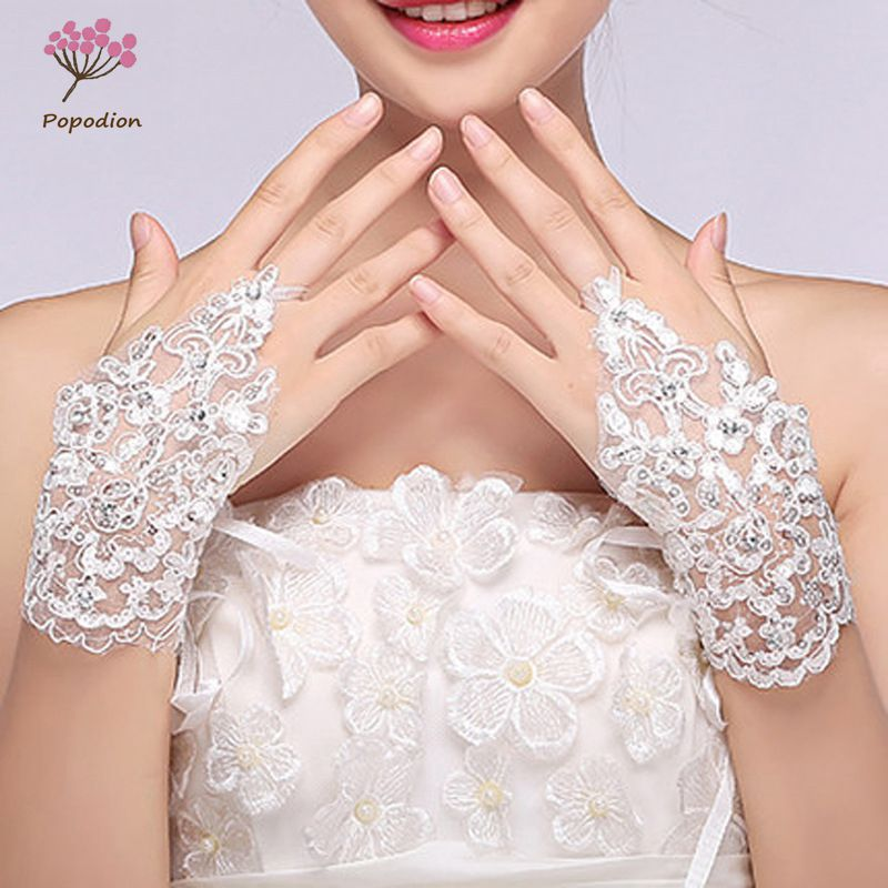 White beaded lace bridal fingerless gloves woman wedding gloves wedding accessories gloves for brides WAS10002