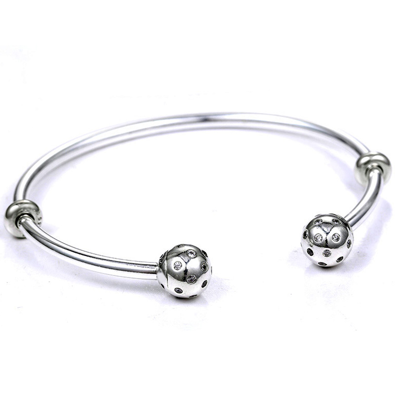 Moments Open Bangle Pave Shimmering End Caps With Cubic Zirconia Bracelet Fit Bead Charm 925 Sterling Silver Europe Jewelry
