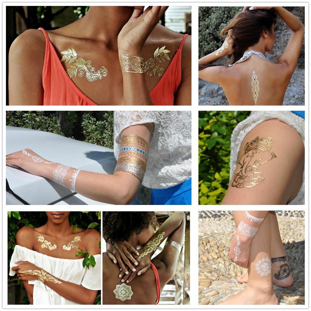 [ glaryyears ] 500pcs Wholesale Bulk Order Free DHL Gold Silver White Black Henna 3D Metallic Temporary Flash Tattoo Jewelry