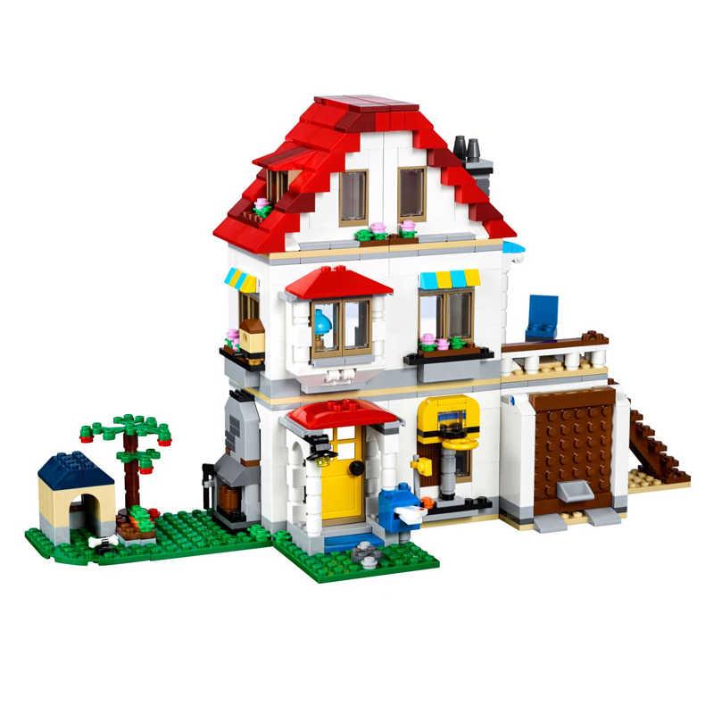 3 In 1 Modular Family Villa Compatible Lego 31069 Lepin 24046 LELE 33077  Creator Building Block Brick House Garden Model Kid Toy