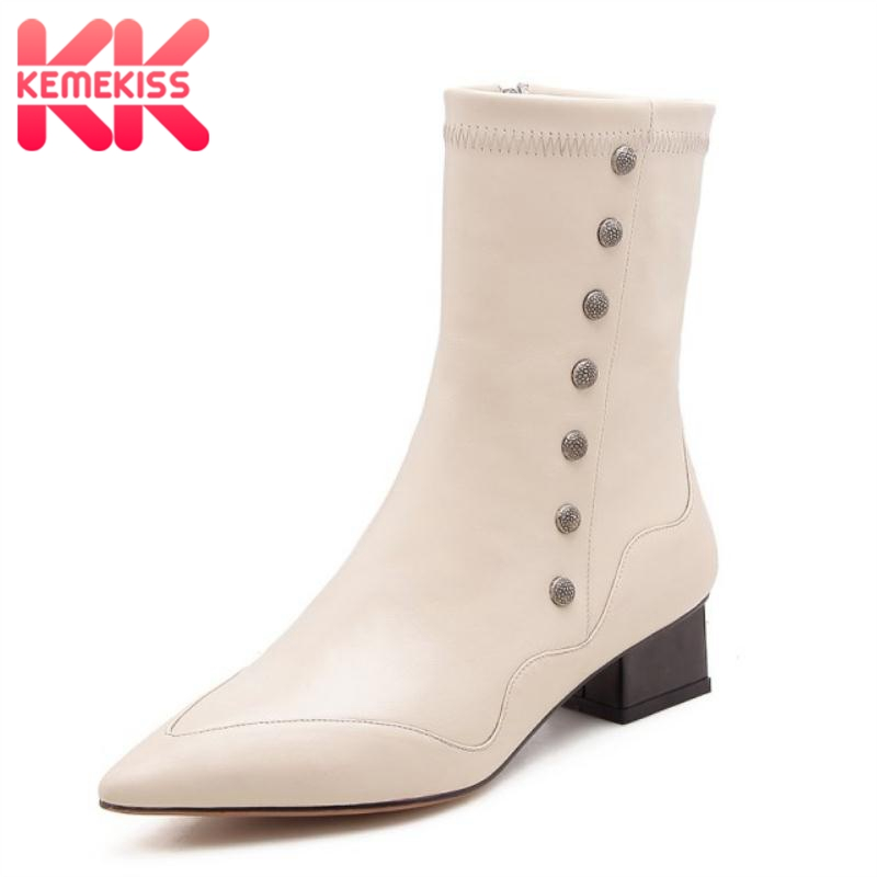 KemeKiss Women Ankle Boots Genuine Leather Shoes Woman Winter High Heel Boots Sexy Ladies Pointed Toe Luxury Shoes Size 34-39KemeKiss Women Ankle Boots Genuine Leather Shoes Woman Winter High Heel Boots Sexy Ladies Pointed Toe Luxury Shoes Size 34-39