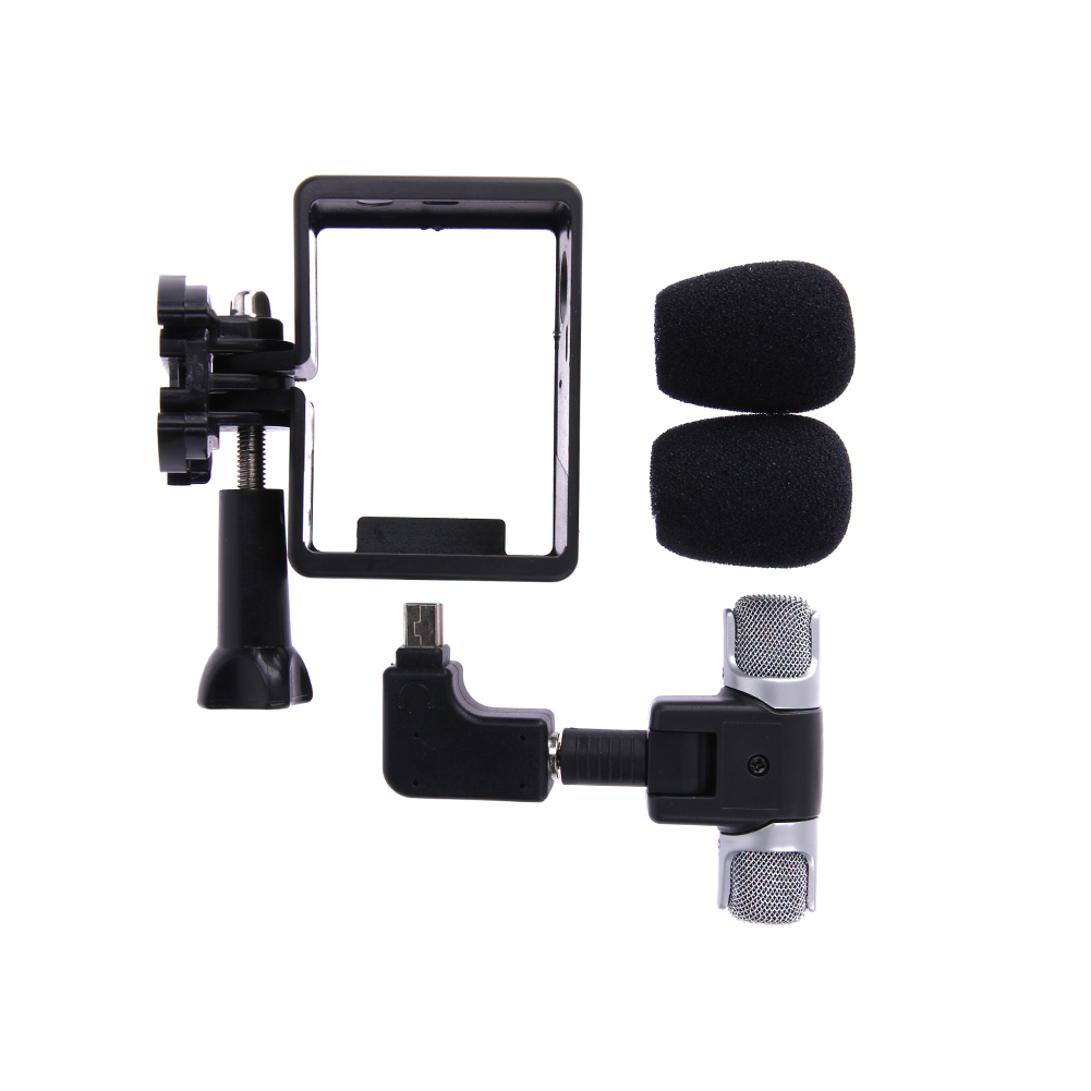 Action Camera Side Open Housing Frame Case Shell Protector with Mini Microphone Adapter Camera MIC Kit for GoPro Hero 3 3+4 side open skeleton housing protective case cover mount for gopro hero 4 3 new z09 drop ship