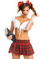 Student Cosplay Sexy Girl Kostium Biały Topy Siatka Spódnica Hot Kobiet Role Playing Costume Młodzieńcza Kobieta Odzież Set Seks CA864