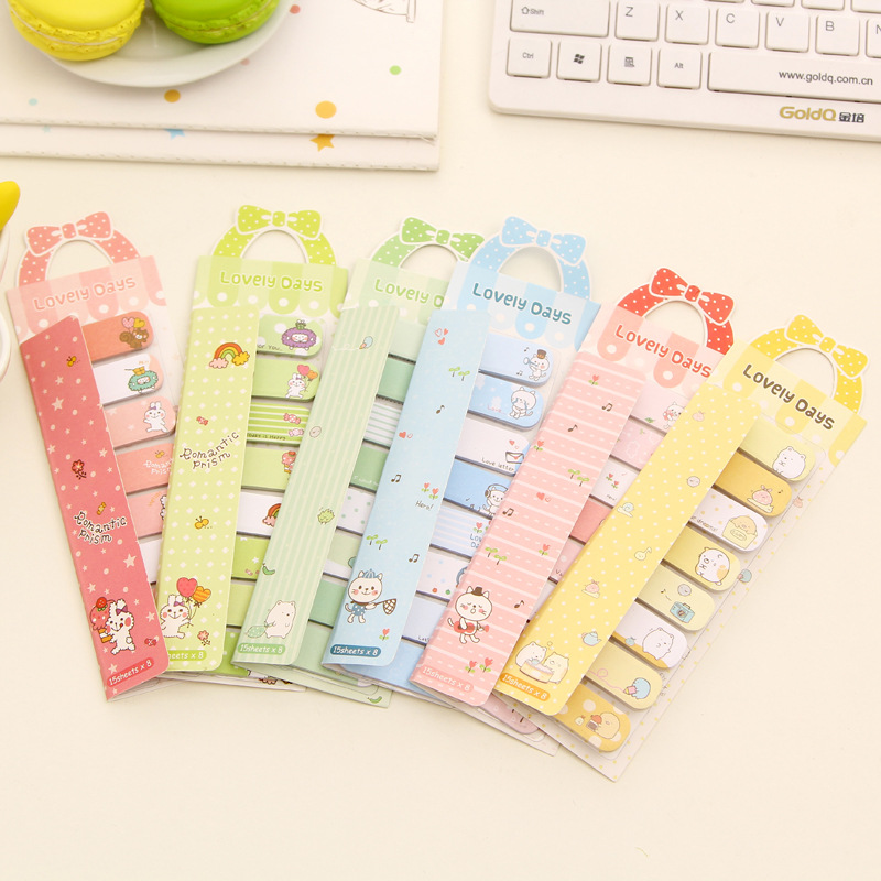 3pcs/lot Stationery Mini Memo Pads Kawaii Finger Sticky Notes DIY Posted It School Office Supplies Cute Stickers Wholesale