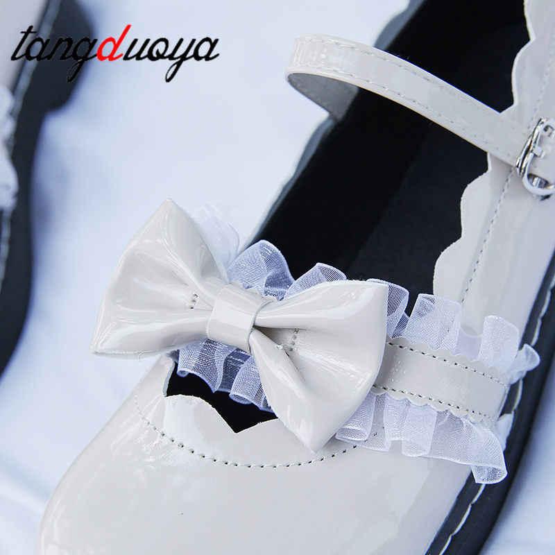 ฤดูใบไม้ร่วง Kawaii Lolita รองเท้า 2019 ฤดูร้อนเกาหลีแฟชั่นบุคลิกภาพหวาน Bow Tie เพื่อนคอสเพลย์ผู้หญิงรองเท้า zapatilla mujer